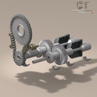 gear drive shaft 3d dxf