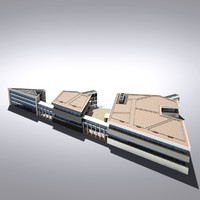 modern generic building 3d max
