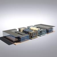 3d model modern generic building