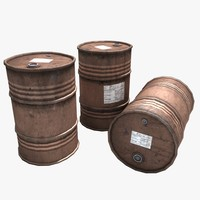 3d model oil gasoline barrels