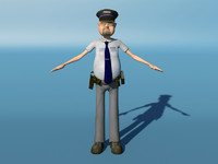 3d toon policeman character