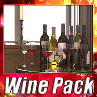 6 Wine Bottles and 6 Wine Glass