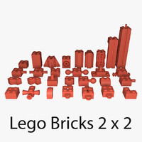 3d model of lego bricks 2x2