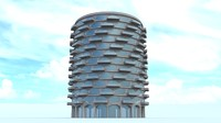 round hexagon building with balconies