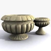 Two Stone Flowerpots