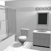 3d cabinet toilet shower model