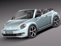 volkswagen beetle convertible car 3d model