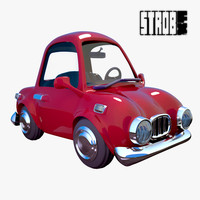 animation red cartoon sedan 3d model