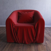armchair chair wrinkle 3d model