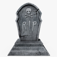 3d model of scary gravestone