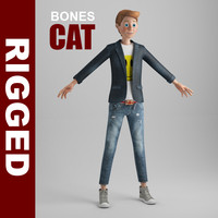 cartoon boy rigged cat hair 3d max