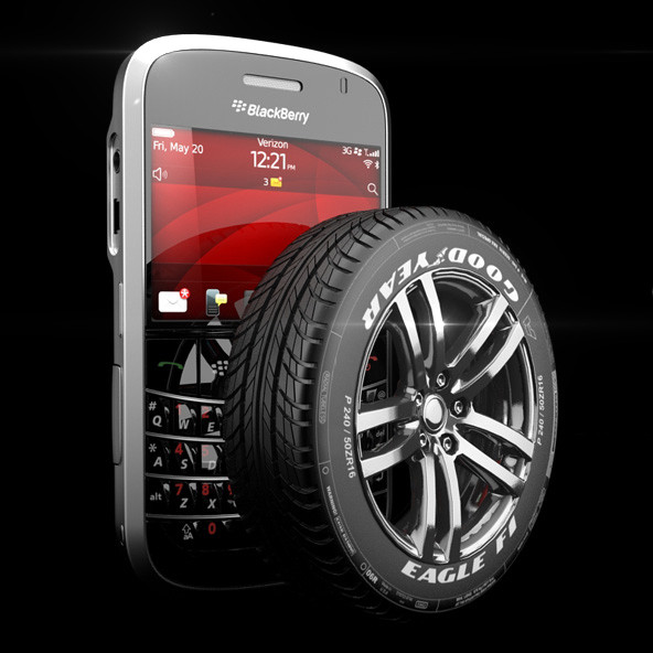 blackberry + tyre + studio setup