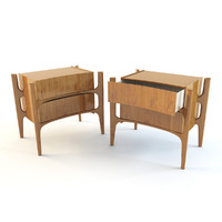 swedish walnut end table 3d model