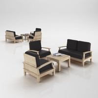 3d 3ds armchairs set