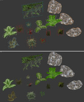 rock plant set obj