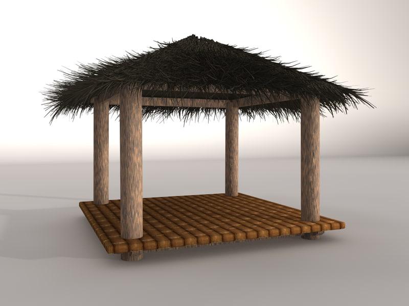 Small beach hut obj for Model beach huts