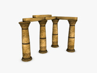 egyptian columns 3d model