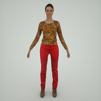 girl red pants 3d model