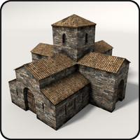 3d ready medieval church model