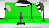 3d cartoon green screen set