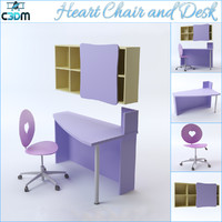 heart chair desk shelving 3d max