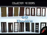 3d set 40 wooden door model