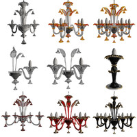 3d model chandeliers sylcom soffio lamps