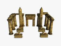 egyptian temple elements 3d 3ds