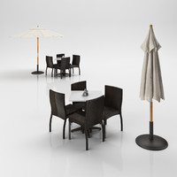 3ds chairs table umbrella
