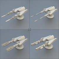 3d model of modular gun