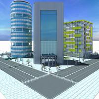 3d city block scene model