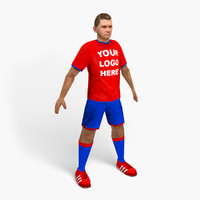 3d football soccer player model