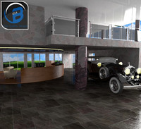 car showroom rolls royce 3d model