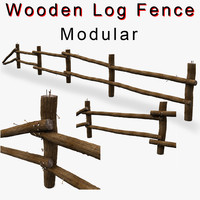 Wooden Log Fence low prop detail
