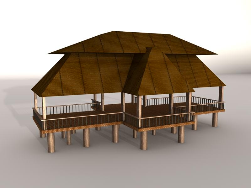 C4d large beach hut for Model beach huts