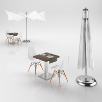 chairs table umbrella 3d 3ds