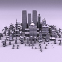 cartoon city buildings obj