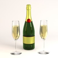 3ds max champagne bottle glass