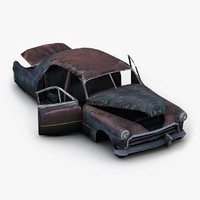 3d old wrecked car