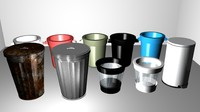 3d model trash trashcan