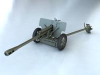 gun zis artillery 3d model