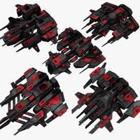 5 attack drones upgraded 3d model