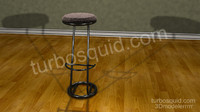 3d photorealistic modern stool padded model