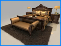 3d obj bed set mattress pillow