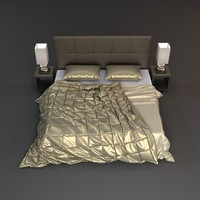 nightstand lamp beds 3d obj