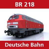 br 218 passenger cargo trains 3d model