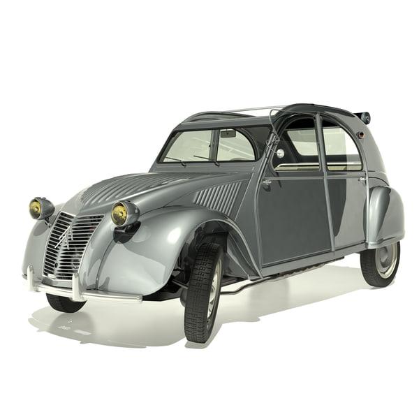 classic citroen 2cv 1958 3d model