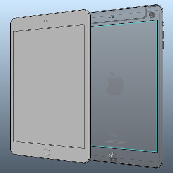 3d model solid ipad mini igs - iPad Mini Solid Nurbs igs 3dm Step Sat... by Studio 3D Plus