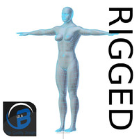 RIGGED Muscular Woman Base Mesh HIGH POLY