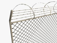 Low poly razor wire fence